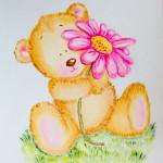 Miś z różowym kwiatem